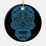 Decorative Blue and Black Sugar Skull Ceramic Ornament