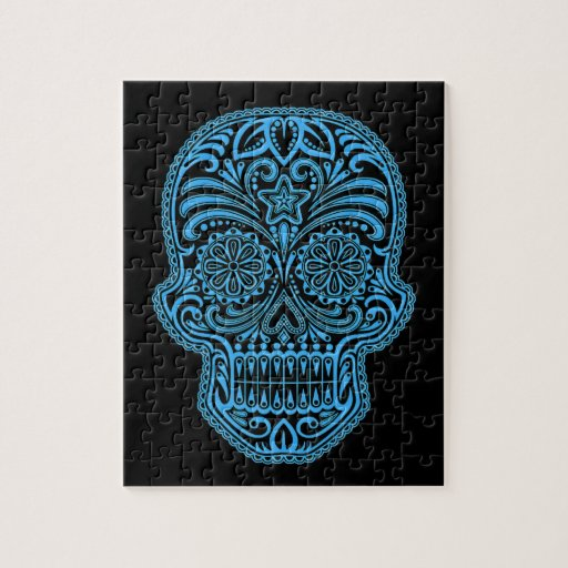 Decorative Blue and Black Sugar Skull Jigsaw Puzzles