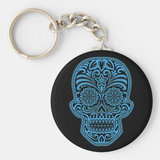 Decorative Blue and Black Sugar Skull Key Chains
