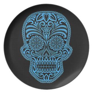 Decorative Blue and Black Sugar Skull Dinner Plate