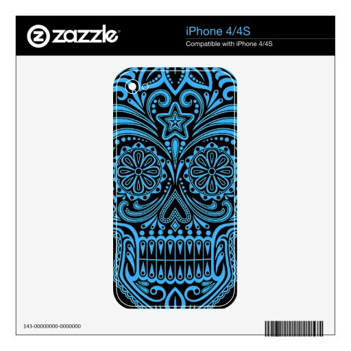 Decorative Blue and Black Sugar Skull iPhone 4 Skins