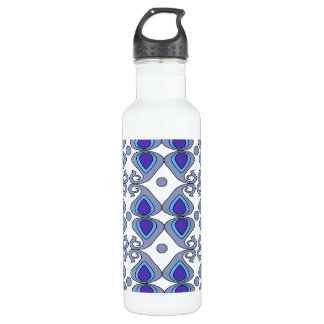 Decorative Blue And Gray Paisley Pattern 24oz Water Bottle