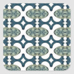 Decorative Blue And White Pattern Square Stickers