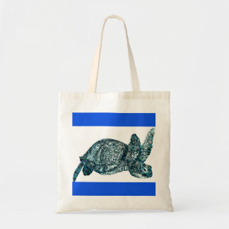 Decorative Blue and White Turtle Tote Bag