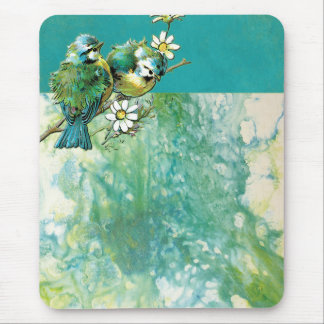 DECORATIVE BLUE BIRDS TURQUOISE YELLOW WHITE SCRAP MOUSE PAD