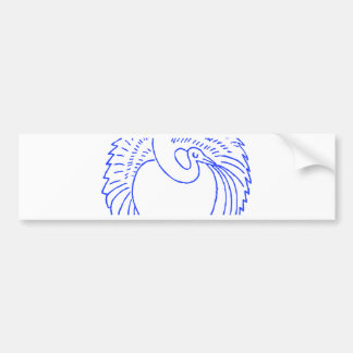 Decorative Blue Stork / Crane Bumper Sticker