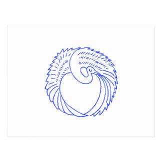 Decorative Blue Stork / Crane Postcard
