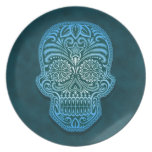 Decorative Blue Sugar Skull Plate