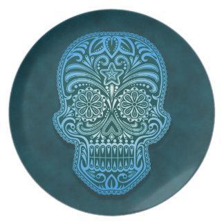 Decorative Blue Sugar Skull Dinner Plate