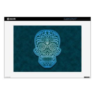 "Decorative Blue Sugar Skull Decal For 15"" Laptop"