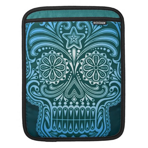 Decorative Blue Sugar Skull Sleeve For iPads