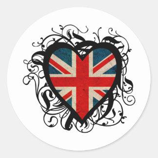 Decorative British Heart Classic Round Sticker