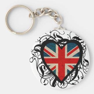 Decorative British Heart Keychain
