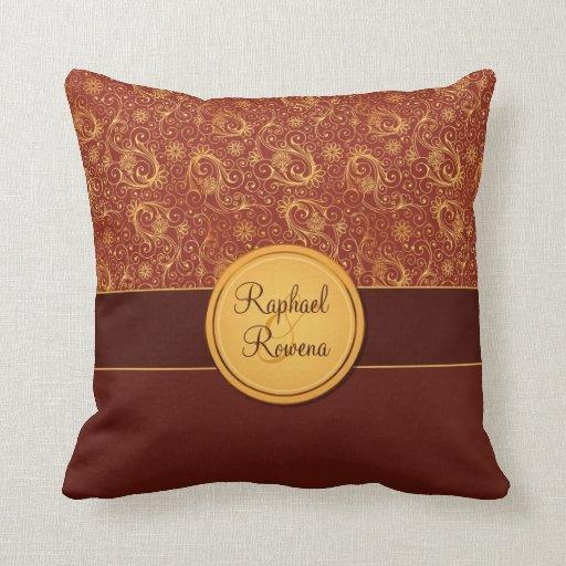 Decorative Burgundy & Gold Monogram Throw Pillow Zazzle