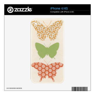 Decorative Butterfly Patterns on Cream Background Skins For iPhone 4S