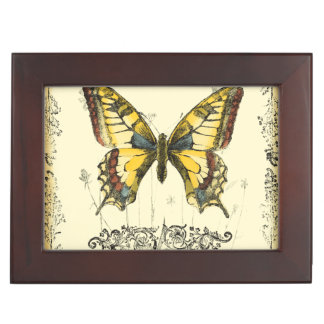 Decorative Butterfly with Wildflowers Memory Box