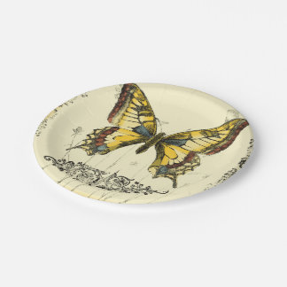 Decorative Butterfly with Wildflowers 7 Inch Paper Plate