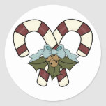 Decorative Candy Canes Classic Round Sticker