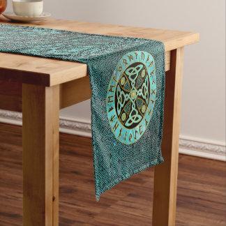 Decorative Celtic Cross  - and Runes alphabet Short Table Runner
