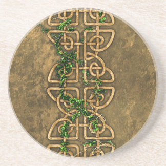 Decorative Celtic Knots With Ivy Drink Coaster
