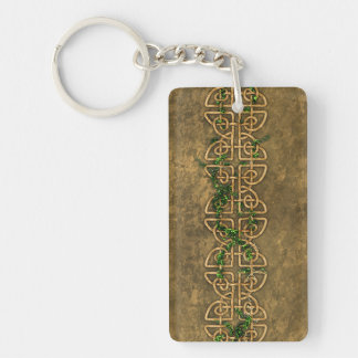 Decorative Celtic Knots With Ivy Double-Sided Rectangular Acrylic Keychain