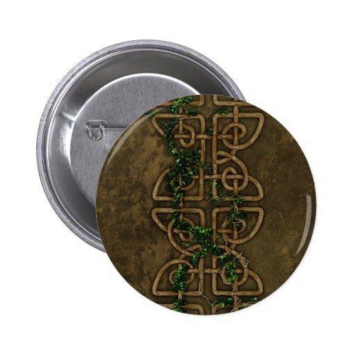 Decorative Celtic Knots With Ivy Pinback Button