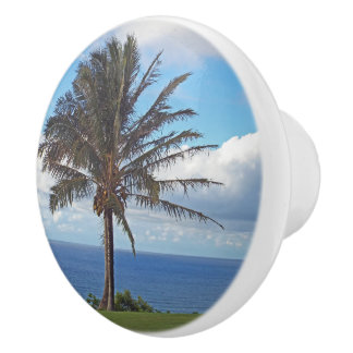 DECORATIVE CERAMIC KNOB /PALM TREE, OCEAN, CLOUD