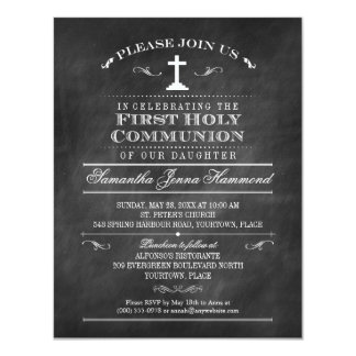 "Decorative Chalkboard First Holy Communion 4.25"" X 5.5"" Invitation Card"