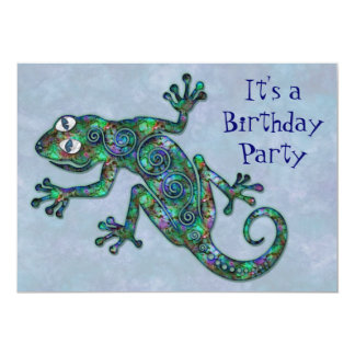 Decorative Chameleon Birthday Party Card