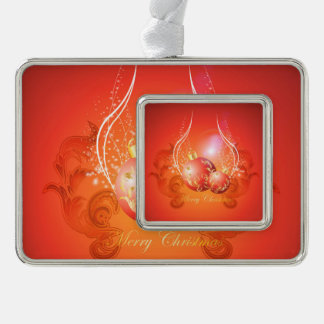 Decorative christmas balls in gold and red silver plated framed ornament