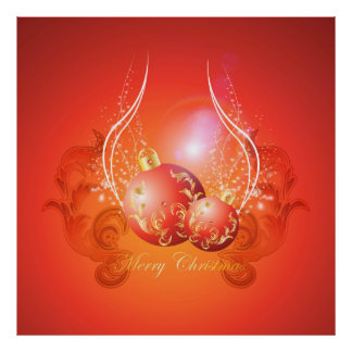 Decorative christmas balls in gold and red poster