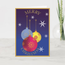 Decorative Christmas blue, gold and red ornaments Card