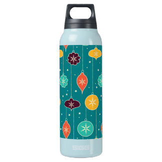 Decorative Christmas Colorful Ornaments on Blue Insulated Water Bottle