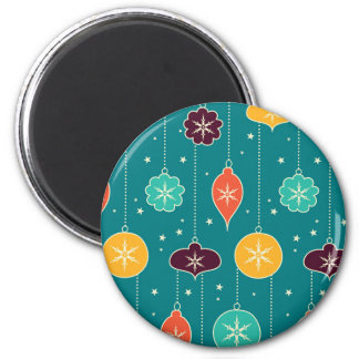 Decorative Christmas Colorful Ornaments on Blue Fridge Magnets