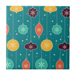 Decorative Christmas Colorful Ornaments on Blue Tile