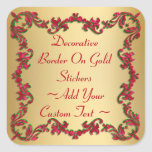 Decorative Christmas Colors Border On Gold Sticker