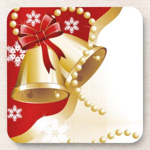 Decorative Christmas Gold Bells Beverage Coasters