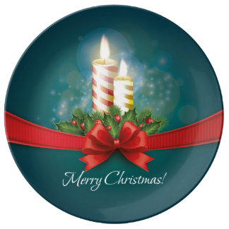 Decorative Christmas Plate with candles