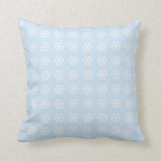 Decorative Christmas Snowflake background Blue Throw Pillow