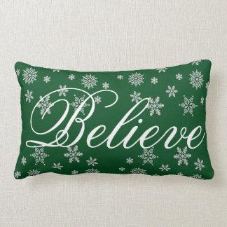 Decorative Christmas Snowflake Believe Holiday Lumbar Pillow