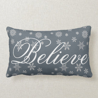 Decorative Christmas Snowflake Believe Holiday Pillow