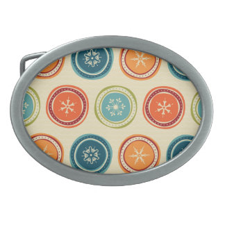 Decorative Christmas Snowflakes & Colorful Circles Belt Buckle