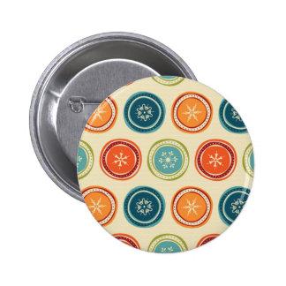 Decorative Christmas Snowflakes & Colorful Circles Pinback Button