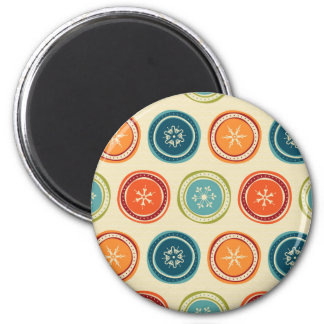 Decorative Christmas Snowflakes & Colorful Circles Refrigerator Magnet