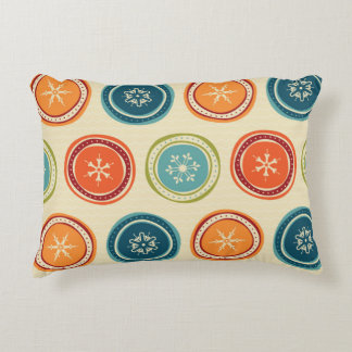 Decorative Christmas Snowflakes & Colorful Circles Accent Pillow