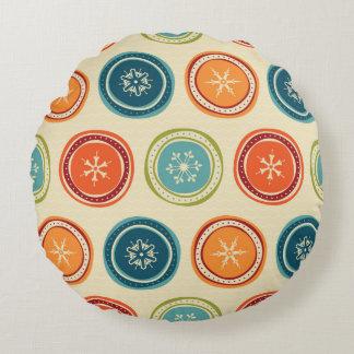 Decorative Christmas Snowflakes & Colorful Circles Round Pillow
