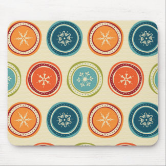 Decorative Christmas Snowflakes & Colorful Circles Mouse Pads