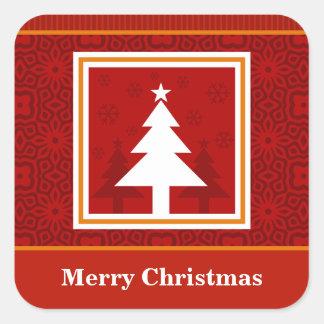 Decorative Christmas Tree Design Square Sticker