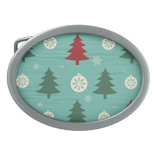Decorative Christmas Trees and Christmas Ornaments Oval Belt Buckle