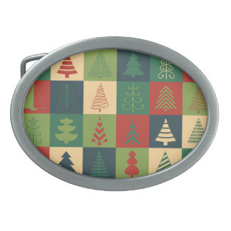 Decorative Christmas Trees Pattern Belt Buckle